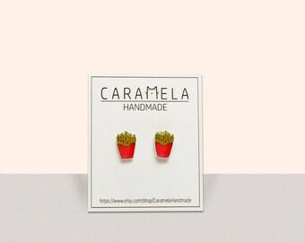 French Fries Stud Earrings, Fry Potatos Jewelry, Miniature, Junk Food Earrings, Fast Food Jewelry, Gift Idea