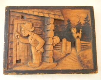 Vintage Hand Carved Wall Plaque Folk Art