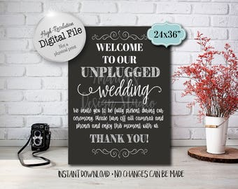 Unplugged Wedding Sign, Wedding Printables, Wedding Decor, Wedding Ceremony Sign, 24x36, Instant Download, Digital File
