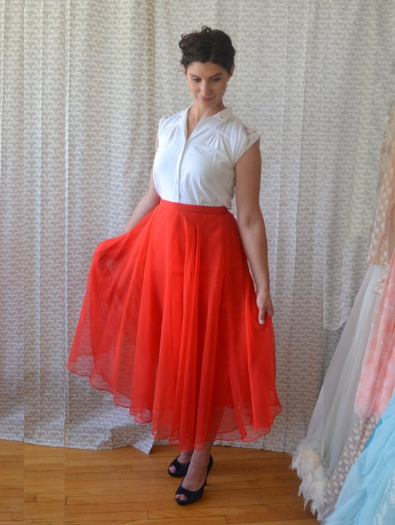 Fan the Flame Skirt | vintage 70's red silk chiffon midi skirt