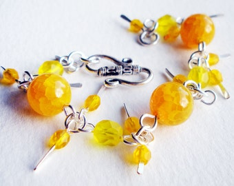 Yellow Stone on Silver Handmade Bracelet