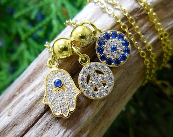 Peace & Good Fortune' Gold Hamsa Crystal Charm .925 Silver Necklace