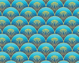 Fanfare Blue Gold Rhapsody in Blue Benartex Fabric 1 yard LAST IN STOCK