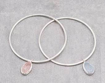Stacking Silver Bracelet/Bangle: Aquamarine, Rose Quartz, Purple Amethyst, Citrine