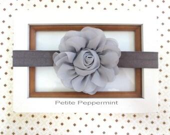 Gray baby headband, grey baby flower headband, girl hair bow, toddler headband, newborn headband, grey baby hair bow, gray baby girl bow