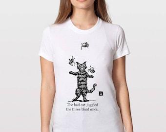 KillerBeeMoto: The Bad Cat Juggled The Three Blind Mice Short or Long Sleeve T-Shirt