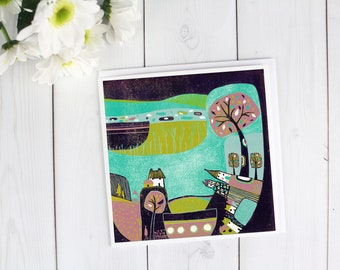 Fantasy Illustration Blank Cards, Greeting Cards Landscape, Thank You Card, Birthday Card Set, Purple Green Nature Linocut Print Blank Cards