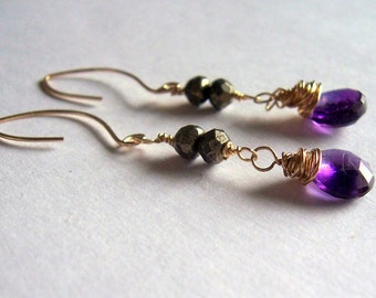 Amethyst and pyrite gold wire wrapped dangle earrings pyrite earrings amethyst earrings
