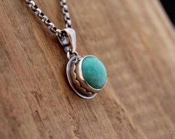 Natural Turquoise Necklace. Turquoise Pendant. Nevada Turquoise. Sterling Silver. Artisan Jewelry. Silver Necklace. December Birthstone
