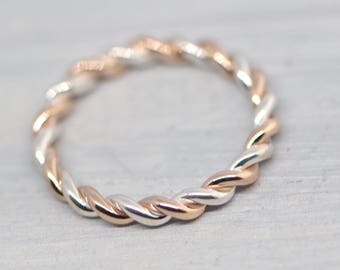 14K Rose Gold Filled Twist Ring, Stacker Ring, Thumb Ring, Braided Ring, Stackable Ring, Stacking Ring, Two Toned Ring, Gift For Her