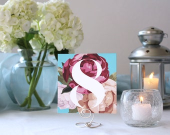 Floral Romantic Pretty Table Number Wedding Table Marker