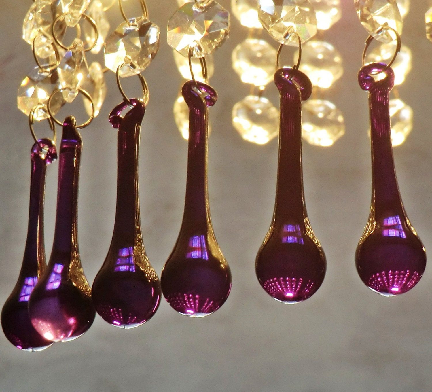 12 Purple Chandelier Drops Glass Crystals Droplets Chic Orb Beads Feng S Vintage Tree Wedding Light Replacement Uk
