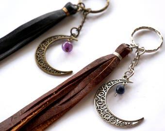 Crescent Moon Pendant Keyring - Moon Keychain - Moon Gift - Pagan Keychain - Silver Moon Purse Charm - Celestial Keychain - Car Accessories