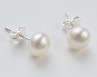 ivory white pearl 8mm freshwater pearl sterling silver stud earrings post earrings