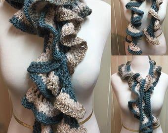 Beige Blue Ruffle Crochet Scarf Spiral Skinny Long Open End, 100% Acrylic Handmade Crochet, Women's Ladies Fashion Gifts for Her