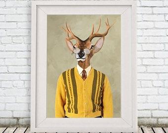 Deer Print,  Antler, Stag, Deer Art, Deer Art Print, Deer Artwork, Wall Decor, Wall Art, Deer Wall Hanging, 8x10,Gift For Men,Sixties