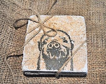 Pig Coaster, Pig Home Decor, Hog Coaster, Hog Home Decor, Set of 4 Stone Coasters, Wholesale Coasters, Tile Coasters, Personalized Coasters