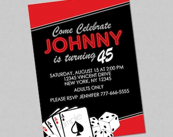 Adult Casino Birthday Invitation - Poker Party Invite , Game Night Invite , Casino Birthday Party , Adult Casino Party , Dice , Cards