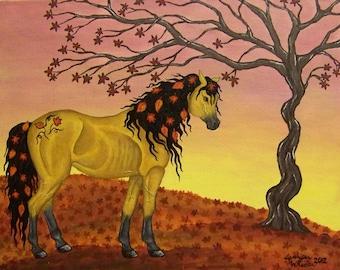 ACEO mini art card print Autumn Horse, fall leaves