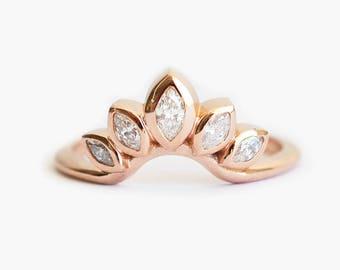 Diamond Wedding Ring, Curved Diamond Ring, Curved Diamond Band, Diamond Engagement, Marquise Diamond Ring, Leaf Wedding Band, Leaf Ring