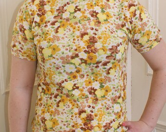 Vintage 1970s yellow floral top (S)