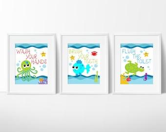 Sea Creature Bathroom Print Set - Kids Bathroom Art - Under The Sea - Kids  Bathroom