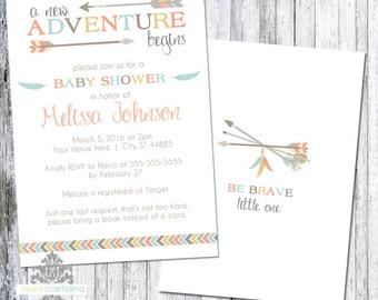 Tribal Baby Shower Invitation | Adventure Begins Invitation | Gender Neutral Baby Shower | 5x7 Printed Invitation