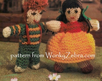 Vintage Knitted Dolls Pattern PDF 551 from ToyPatternLand and WonkyZebra