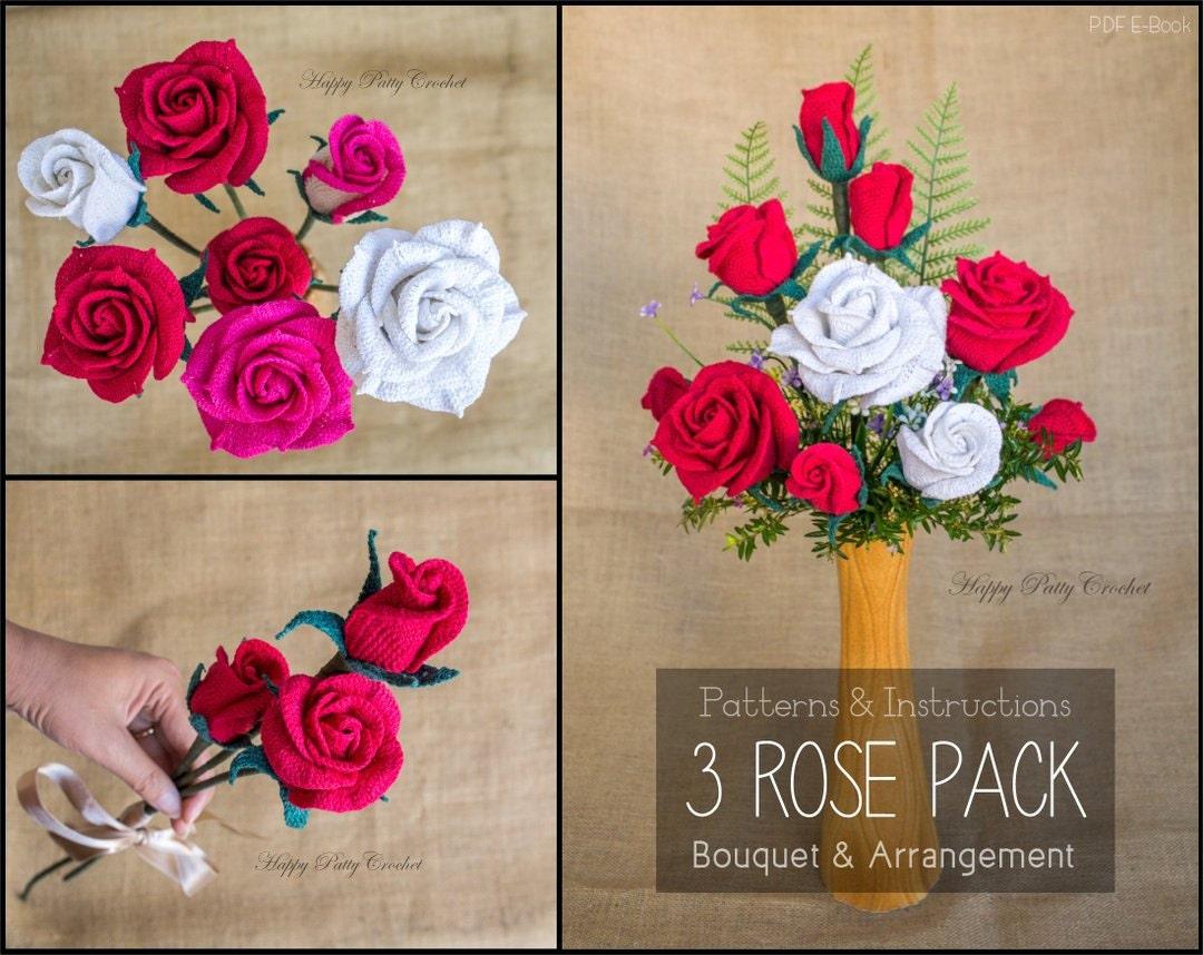 Crochet Flower PATTERNS BUNDLE Crochet Rose Patterns for