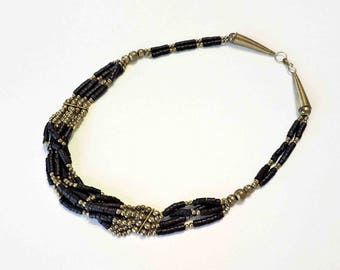 Vintage Black and Silver Multistrand Necklace