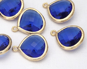 Cobalt Blue Glass Pendant(Large) Polished Gold -Plated - 2 Pieces [G0006-PGCB]