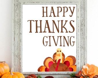Happy Thanksgiving Turkey Printable Wall Art 8x10, 5x7, 11x14, Thanksgiving Decor, Holiday Printable, Holiday Decor