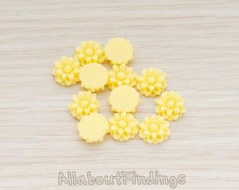 CBC501-YE // Yellow Colored Dandelion Flower Back Cabochon, 6 Pc