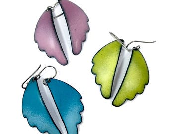 Juicy Anjou Pear Green, Turquoise Blue, and Pink Ombré Angel Wings Matte Enamel Earrings with Titanium Earwires Organic and hypoallergenic