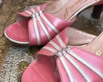 1950s/1960s pink high heels / sandals