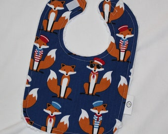 Navy Blue Fabulous Foxes and Chenille Bib