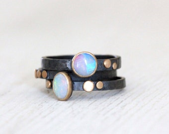 Opal Ring with Dots in Sterling Silver and 14k Gold Size 5.5