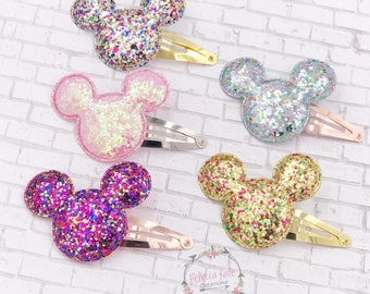 Mouse Glitter Snap Clips/Mickey Inspired Hair Clips/Glitter Hair Clips/Sparkly Hair Clips/Snap clips/Toddler Hair clips
