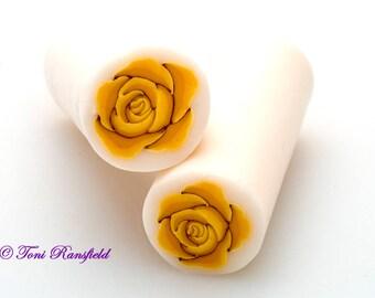 Saffron Rose Polymer Clay Cane, Raw polymer Clay Cane, Millefiori Polymer Clay