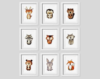 Woodland Animal Set, Nursery Decor, Forest Nursery Art, Baby animals, Woodland Decor, Printable kids art, Nursery printable, Baby Fox, Owl