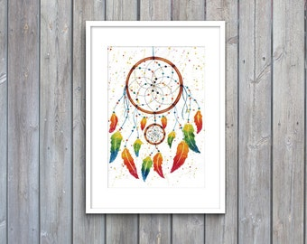Dreamcatcher giclee print watercolour/watercolor/painting/illustration/wall art/native American/feathers/tribal/boho/dream/dreams/A4/A3