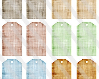Printable Aged Linen Tags Digital Collage Sheet (1.45 inches by 2.5 inches) - 0100