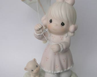 "Precious Moments ""Sending My Love Your Way"" Porcelain Figurine - Enesco - Vintage Collectible - Girl with Kite - 1994 - Limited Edition"