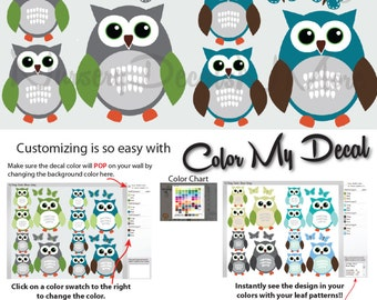 12 Owl Wall Decals for Boy Baby Nursery, Boy Owl Decals, Owl Decals (12 Blue Gray) 12ROO