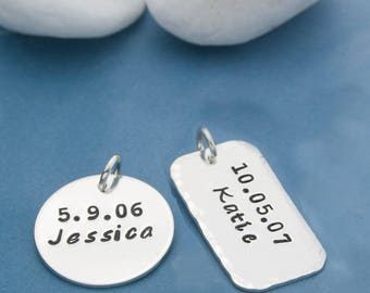 Customized Charms, Personalized Charms, Sterling Silver Charms, Hand Stamped, Add On to Jewelry, Custom Jewelry, Custom Charms