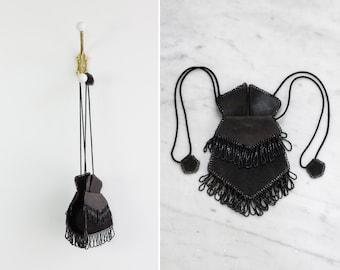 antique victorian reticule | antique beaded purse | black leather beaded fringe bag