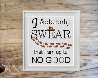 Harry Potter I Solemnly Swear that I am up to No Good Cross Stitch Pattern | Harry Potter Spells | PDF pattern | instant download