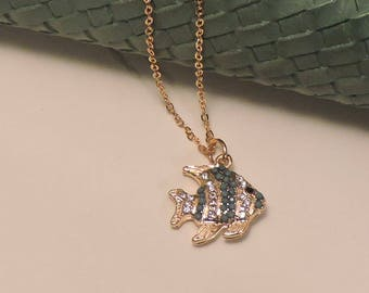 Fish with Turquoise and Crystals on Gold Chain