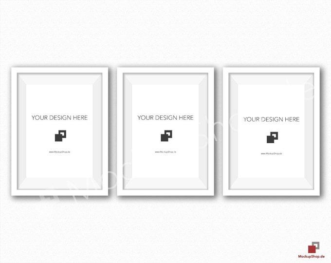 5x7 WHITE FRAME MOCKUP / Set of 3 / White Wall Mockup / Frame Mockup /  White Photo Frame Mockup / Instand Download / FrameMockup