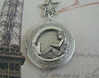 Silver Mermaid Locket Valentines Day Wedding Jewelry Bride Bridesmaid Mother Wife Gift Ocean Necklace Sister Daughter Photo Pictures-Merissa